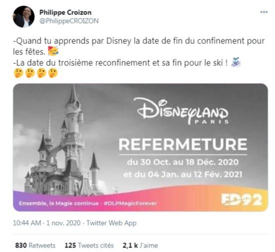 De nombreux internautes laissent entendre que Disneyland Paris a annoncé les véritables dates de ce second confinement